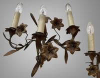 Vintage French Set of Three Wall Lights Sconces Rustic Gilt Bronze Lilies (4 of 10)