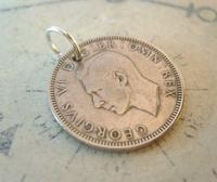 Vintage Pocket Watch Chain Fob 1949 Lucky Silver One Shilling 5d Old Coin Fob (4 of 6)