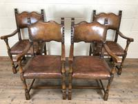 Set of Four Antique Leather Armchairs (13 of 16)