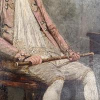 Antique Georgian oil painting portrait of gentleman The Flautist flute player (5 of 10)