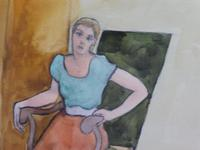Pair of Watercolours Girl in the Chair Listed French Artist Janine Marca 1960s (5 of 10)