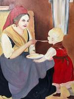 Oil Folk Art Painting Dutch Mother In Kitchen Feeding Her Child (5 of 13)