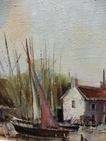 Large Oil on Canvas Dockside View Listed Artist Ira Englefield (3 of 12)