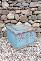 Swedish 'folk art' original blue paint box from hälsingland region, 1847. (10 of 26)