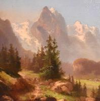 Swiss Alpine scene oil painting (8 of 8)