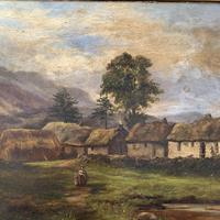 Antique large Scottish landscape oil painting of cottages in Trossachs signed Walter W Banner 1880 (6 of 11)