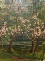 Superb Early 1900s Spring Blossom Riverscape Impressionist Oil Painting (5 of 13)