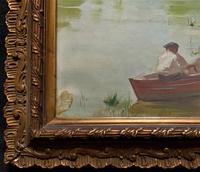 Original 1902 Antique French Riverscape Landscape Oil on Canvas Painting (11 of 13)