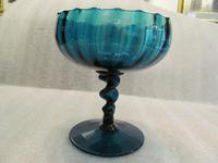 Fine Quality 19th Century Turquoise Glass Pedestal Bowl (2 of 5)