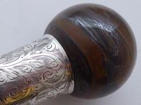 Walking Stick Cane 1924 Hallmarked Silver Collar Tigers Eye Coconut Palm Shaft (7 of 11)