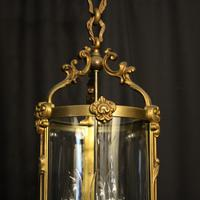 French Gilded Bronze Antique Hall Lantern (2 of 9)