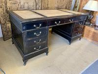 19th Century Ebonised Desk with Brass Swan Neck Handles (2 of 6)