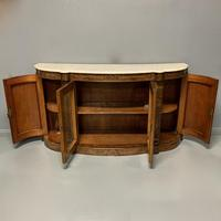 English burr walnut Credenza with Carrara marble top (5 of 10)