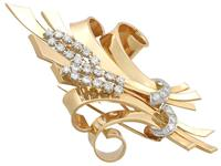4.32ct Diamond & 18ct Yellow Gold Double Clip Brooch c.1930 (3 of 12)