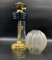 Lovely Tall 19thc Twin Burning Royal Blue Glass & Brass Table Oil Lamp (2 of 11)