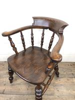 19th Century Ash and Elm Smoker's Bow Chair or Captain's Armchair (4 of 11)