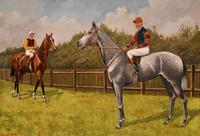 """Oil Painting Pair by Walter Vernon """"Racehorse Scenes"""" (3 of 11)"""