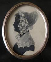 Late Georgian Portrait Silhouette Lady Lace Bonnet (3 of 4)