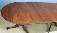 Late 19th Century English Figured Mahogany Triple Pillar Dining Table (10 of 14)