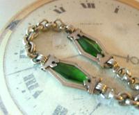 Antique Pocket Watch Chain 1910 Art Nouveau Silver Chrome & Green Glass Albert (5 of 12)