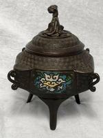 Antique 19th Century Bronze Japanese Inugami Enamel Inlaid Incense Burner Lid (4 of 12)