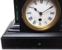 Amazing French Slate Mantel Clock Timepiece Mantle Clock with Machilite Inlay (3 of 11)