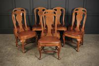 8 Oak & Leather Queen Anne Style Dining Chairs c.1920