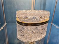 Antique Bohemian Cut to Clear Glass Crystal Box with Gilded Metal Mount (9 of 9)