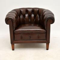 Pair of Antique Swedish  Leather Chesterfield Armchairs (9 of 9)