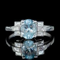 Art Deco Aquamarine Diamond Ring Platinum 1.50ct Aqua c.1930 (7 of 7)