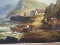 Large Marine Coastal Scene by W. Stone c.1880 (4 of 6)
