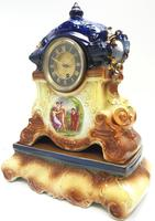 Antique 8-day Porcelain Mantel Clock Classical Blue & Earth Glazed French Mantle Clock (5 of 12)
