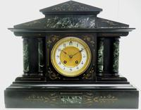 Fine Slate & Marble Mantel Clock 8 Day Striking Mantle Clock (6 of 9)
