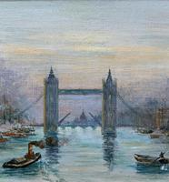 Superb Original 1921 View of Tower Bridge London Seascape Oil Painting (3 of 12)