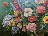 An Extraordinary Original 1952 Vintage French Still Life Of Flowers Oil Painting (6 of 11)