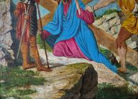 Lovely 19th Century Religious Old Master Christ & Cross Oil Painting - Set 14 Available (10 of 19)