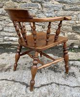 Antique Elm Captains Chair Smokers Bow (8 of 13)