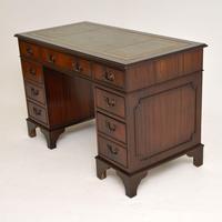Antique Georgian Style Mahogany Leather Top Pedestal Desk (6 of 10)
