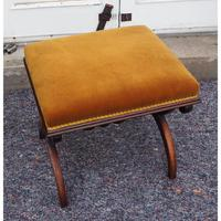 Victorian Rosewood x-frame Stool (3 of 6)