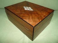 QUALITY Inlaid Figured Walnut Jewellery Box + Tray c.1870 (7 of 14)
