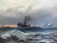 Huge 19th Century Seascape Oil Painting Sinking Ship Signalling Rescuers by Henry E Tozer (10 of 58)