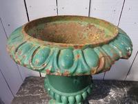 Pair Antique Cast Iron Medici Urns (3 of 7)