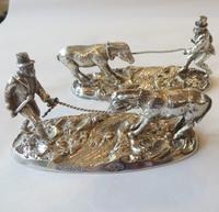 Victorian knife rests - gentleman coaxing a donkey over a stream - 1883 (7 of 11)