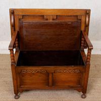 Oak Monks Bench Settle Carved Folding Hall Arts & Crafts (3 of 12)