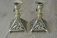 Fine Aesthetic Movement Desk Set Brass Inkwell & Brass Candlesticks c.1880 (10 of 11)