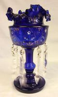 Antique Victorian Pair of Bristol Blue Mantle Lustres (7 of 7)