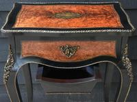Fine Quality 19th Century French Ebonised & Amboyna Serpentine Sewing Table (6 of 21)