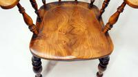 Victorian Smokers Bow or Captains Chair, Elm / Beech - Large Seat, Wide Arms (3 of 13)