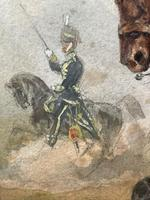 Military Watercolour Prince of Wales Own 10th Royal Hussars Guard on Horseback by Henry Martens c.1850 (8 of 53)