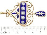 1.89ct Diamond and Enamel, 15ct Yellow Gold & Silver Pendant - Antique Victorian (9 of 12)